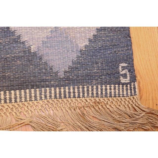 Textile Vintage Swedish Kilim Rug by Britta Swefors - 6′6″ × 9′3″ For Sale - Image 7 of 9