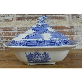 19th Century Square Blue Willow Serving Bowl With Lid Preview