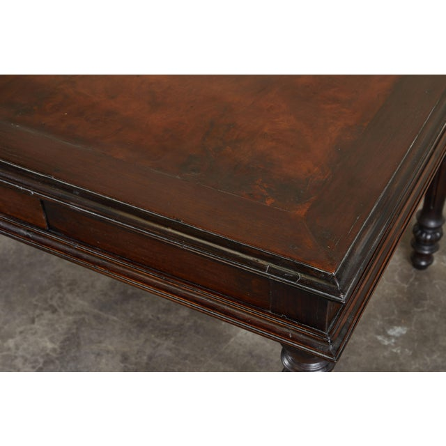19th C French Colonial Desk With Burlwood Center Top For Sale - Image 9 of 11