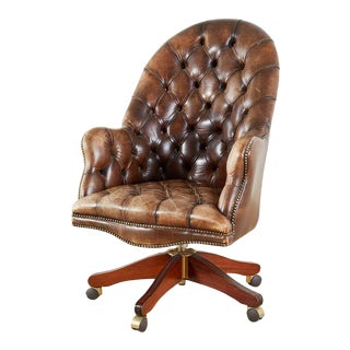 English Chesterfield Style Tufted Leather Executive Desk Chair For Sale