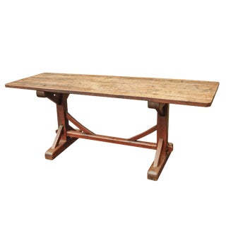 Early 18th C. French Dark Oak Trestle Table For Sale