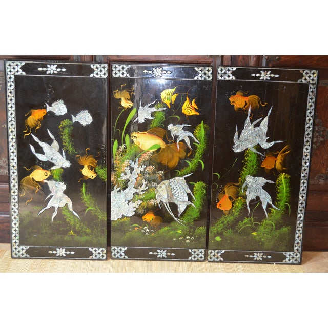 Chinoiserie Mother-of-Pearl Koi Triptych - Image 3 of 6