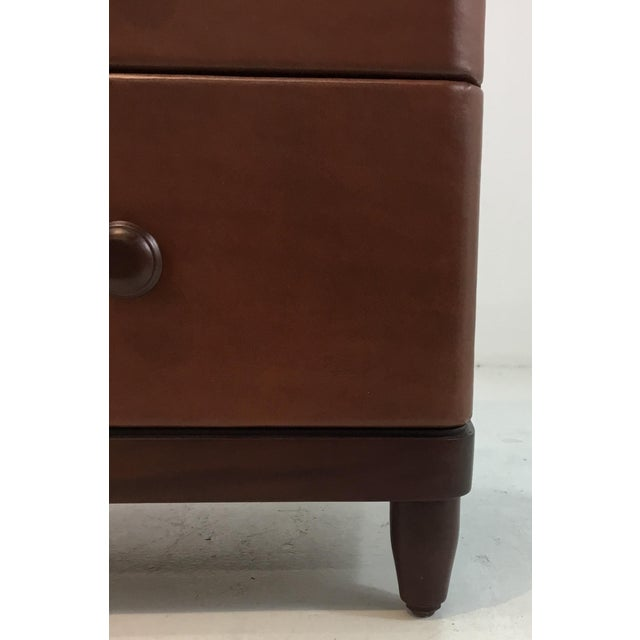2010s Modern Bungalow 5 Brown Leather and Wood Montclair Three Drawer Chest of Drawers For Sale - Image 5 of 8