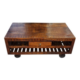 Moroccan Indian Wooden Coffee Table with Cart Wheels For Sale