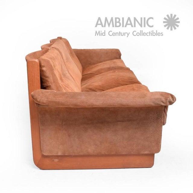 1960s Danish Modern Suede & Teak Sofa For Sale - Image 5 of 8