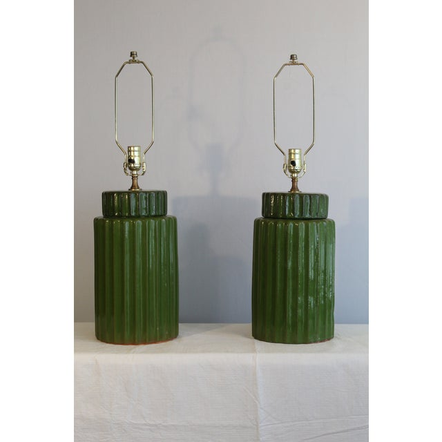 Transitional Style Ceramic Table Lamps - a Pair For Sale - Image 10 of 10
