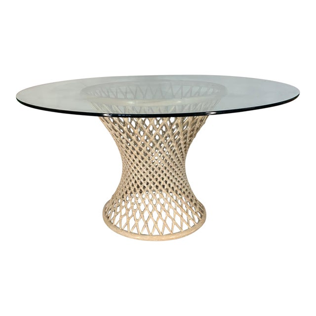 Woven Rattan Sculptural Dining Table For Sale