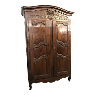 18th Century Louis XV French Provincial Walnut Marriage Armoire