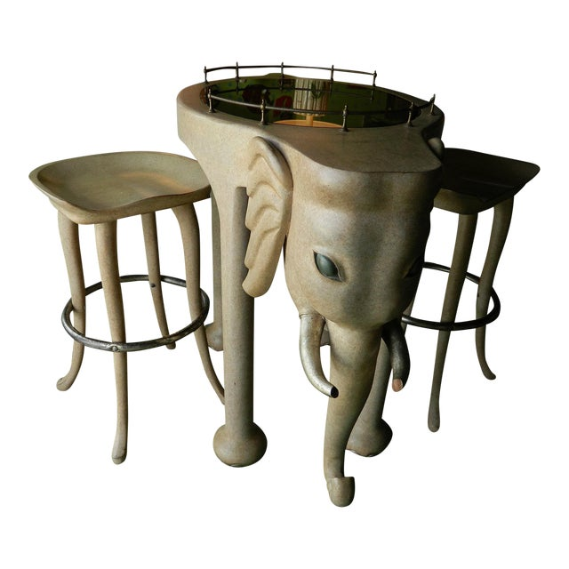 Marge Carson Elephant High Table & Stools - Set of 3 - Image 1 of 9