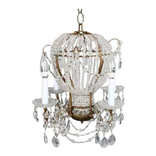 Mid-Century Maison Bagues Inspired Beaded Cut Crystal W/ Bronze Chandelier Hot Air Balloon