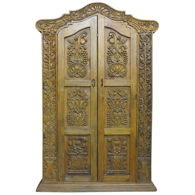 Hand Carved Wood Wardrobe Tv Cabinet - Image 1 of 6