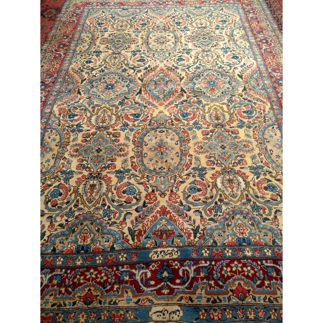 Red Antique Yazd Persian Carpet - 6′6″ × 9′7″ For Sale - Image 8 of 10
