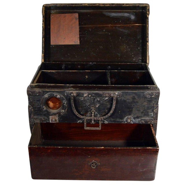 Antique Handmade Wood Money Box with Hardware from 19th Century, China For Sale