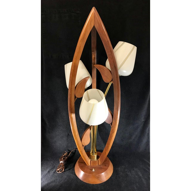 Danish Teak Wood Mid Century Modern Tulip Table Lamp With ...