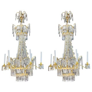 Pair of Russian Neoclassical Style Bronze and Crystal 7-Light Chandeliers For Sale