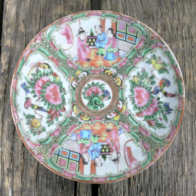 Ceramic Antique Chinese Qing Rose Medallion Porcelain 6-Inch Cupped Plates Set of 8 For Sale - Image 7 of 13