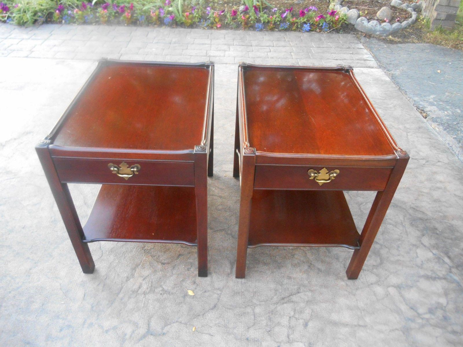 Hickory Chair Co. James River Two Tier End Tables   A Pair   Image