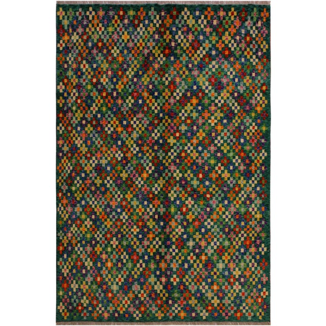 "Green Balouchi Ali Green/Ivory Wool Rug - 4'11"" X 6'4"" For Sale - Image 8 of 8"