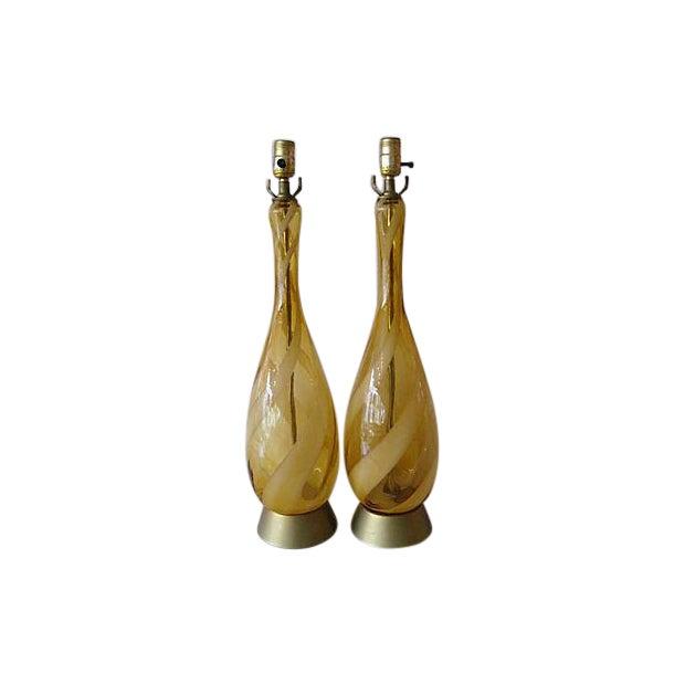 Mid-Century Murano Glass Swirl Table Lamp - Pair - Image 1 of 6