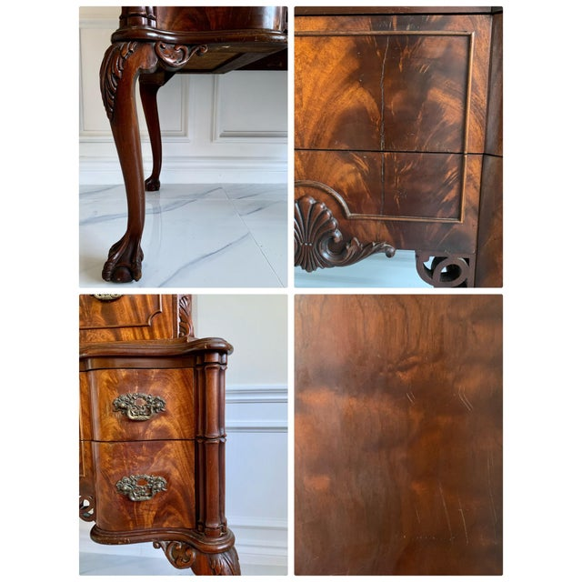 Antique Ca 1900's Georgian Chippendale English Style Mahogany Claw Feet Highboy Dresser For Sale - Image 12 of 13