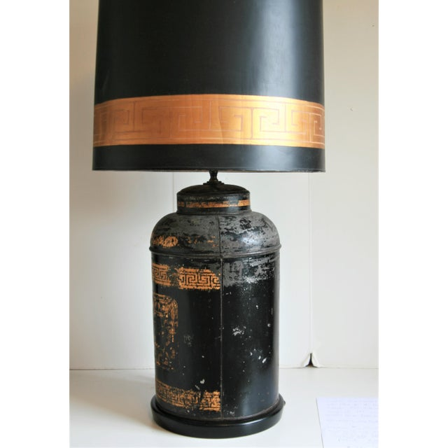 Black Late 19th Century Antique Chinoiserie Metal Tea Canister Lamps - A Pair For Sale - Image 8 of 13
