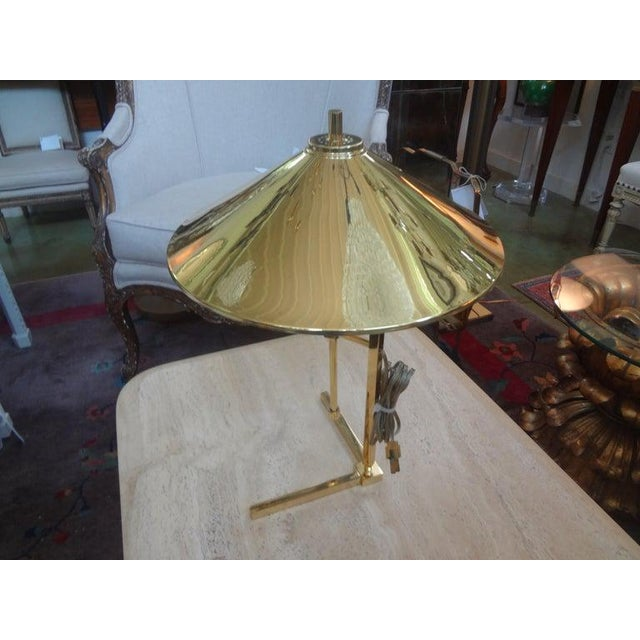 Mid-Century Modern Vintage Polished Brass Lamp With Brass Shade For Sale - Image 3 of 13