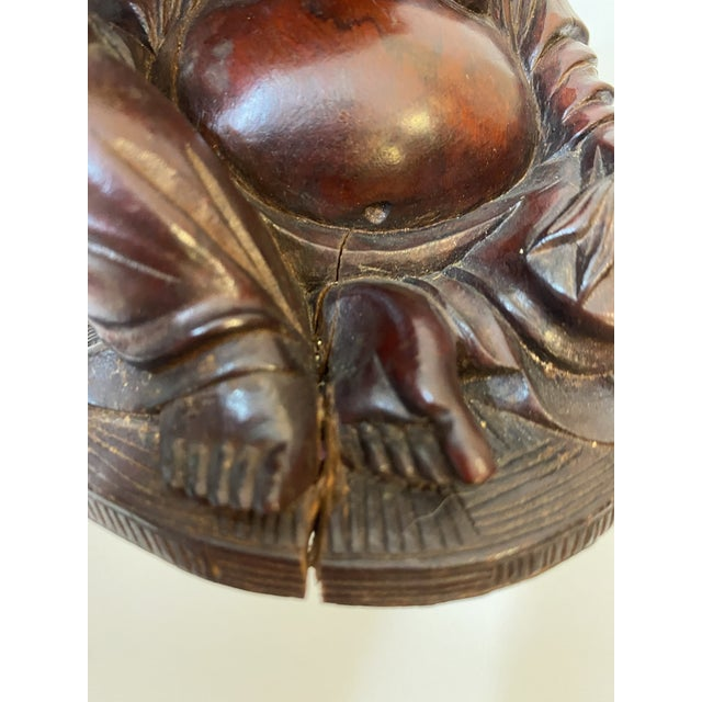 Brown Vintage Chinese Hand Carved Bamboo Buddha Figurines - Pair For Sale - Image 8 of 12