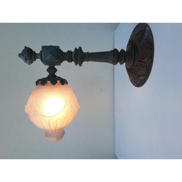 Antique French Parisienne Street Lantern in Solid Bronze For Sale - Image 4 of 11