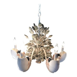 Currey & Company Coral Nautilus Shell Chandelier For Sale