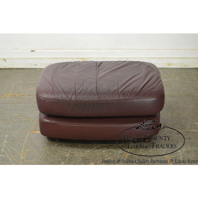 Brown Classic Leather Bun Foot Russet Brown Leather Ottoman For Sale - Image 8 of 13