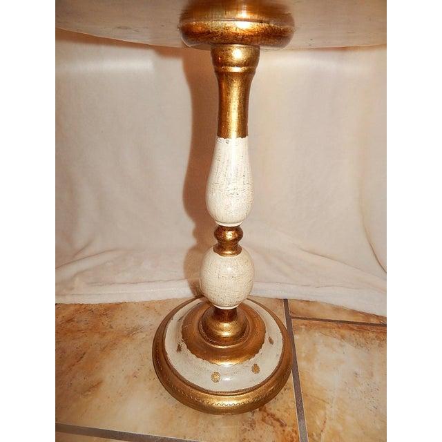 Italian Gold Gilt Wood Florentine Round Pedestal Side Table - Image 7 of 10