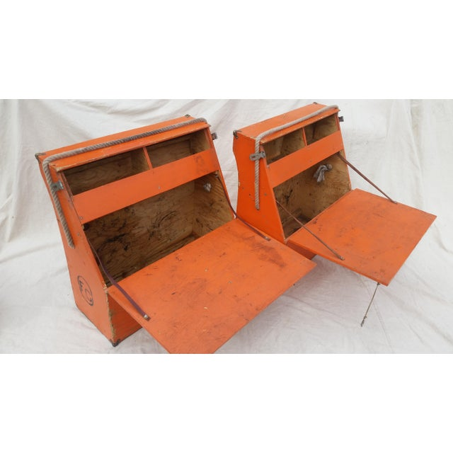 1990s Vintage Western Orange Wood Horse Panniers From a Colorado Ranch - a Pair For Sale - Image 5 of 10