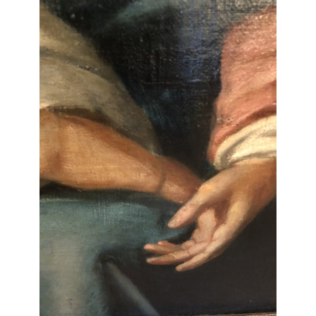 Large Original Oil on Canvas of Madonna and Child With Patrons For Sale In Philadelphia - Image 6 of 13