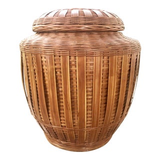 Ceramic Ginger Jar Encased on Woven Wicker Rattan For Sale