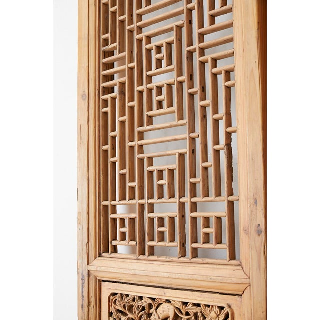 Pair of Chinese Carved Doors With Lattice Windows For Sale In San Francisco - Image 6 of 13