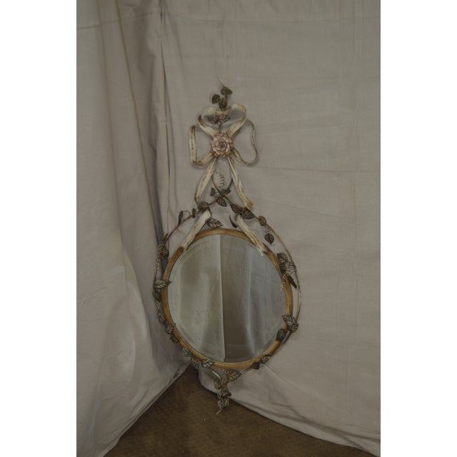 *STORE ITEM #: 18442-ax LaBarge Italian Floral Hand Painted Tole Metal Beveled Wall Mirror AGE / ORIGIN: Approx. 25 years,...