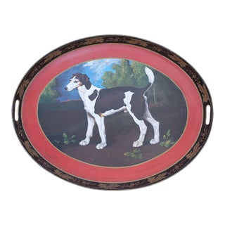 Vintage Oval Tole Hunting Dog Portrait Serving Tray For Sale
