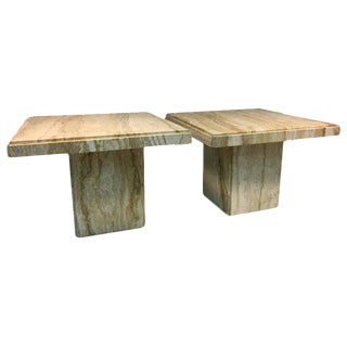 EXCEPTIONAL PAIR OF ITALIAN END OR SIDE TABLES IN BEAUTIFUL TRAVERTINE For Sale