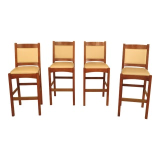 Stickley Leather Bar Stool Counter Chairs - Set of 4
