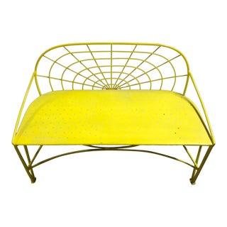 Mid-Century Modern Mayfair Yellow Metal Garden Bench