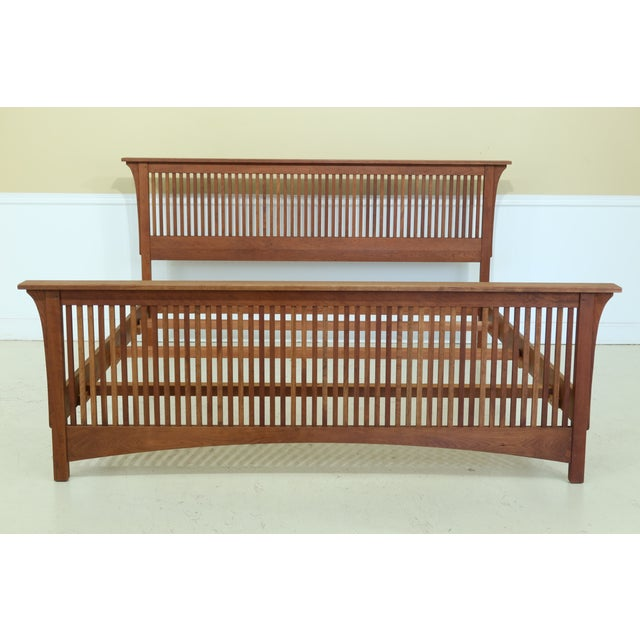 Stickley King Size Mission Cherry Spindle Bed For Sale - Image 13 of 13