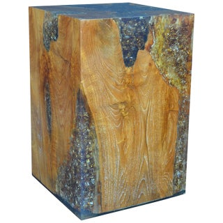 Wood Stool Encased in Resin For Sale
