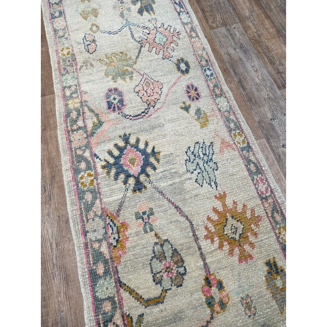 "Boho Chic ""Bellwether Rugs"" Colorful Oushak Runner For Sale - Image 3 of 5"