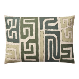 """Justina Blakeney X Loloi Kuba Cloth Pattern Appliqued Pillow with Hand Embroidery, Green / Multi - 16"""" x 26"""" Cover with Down Pillow For Sale"""