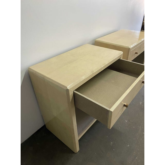 Mid-Century Modern Polished Faux Vellum Bedside Tables For Sale - Image 3 of 7