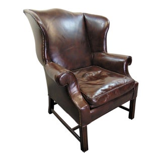 Chippendale Mahogany Brown Leather Wing Chair For Sale
