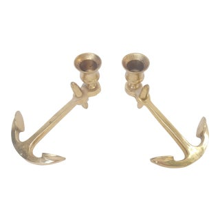 Mid-Century Brass Anchor Nautical Candle Holders For Sale
