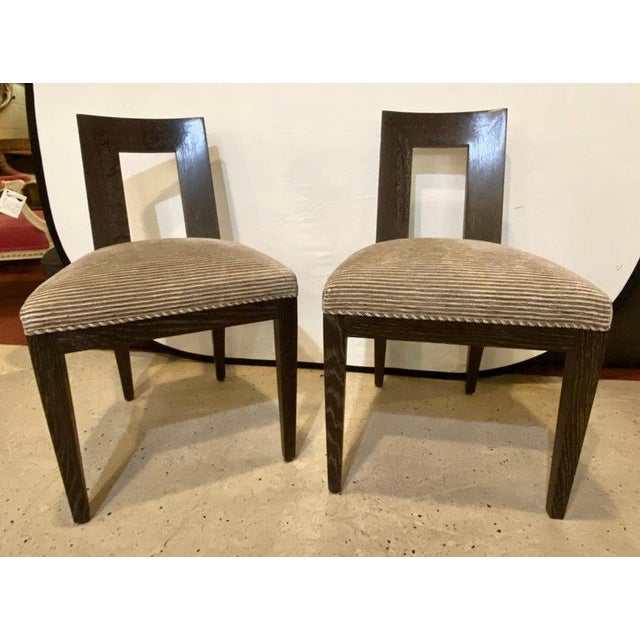 1990s Set Ten Donghia 'Margarita' Design Dining Chairs Pickled Oak, Labeled Donghia For Sale - Image 5 of 12
