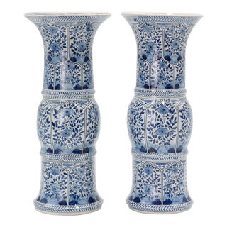 Large Antique 19th-Century Dutch Delft Vases - a Pair For Sale