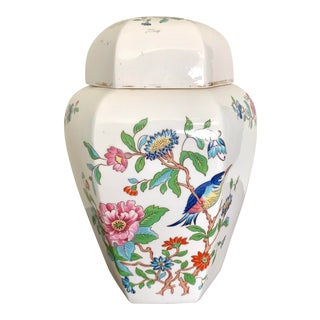 Vintage Aynsley Prembrook Bone China Octagon Ginger Jar For Sale